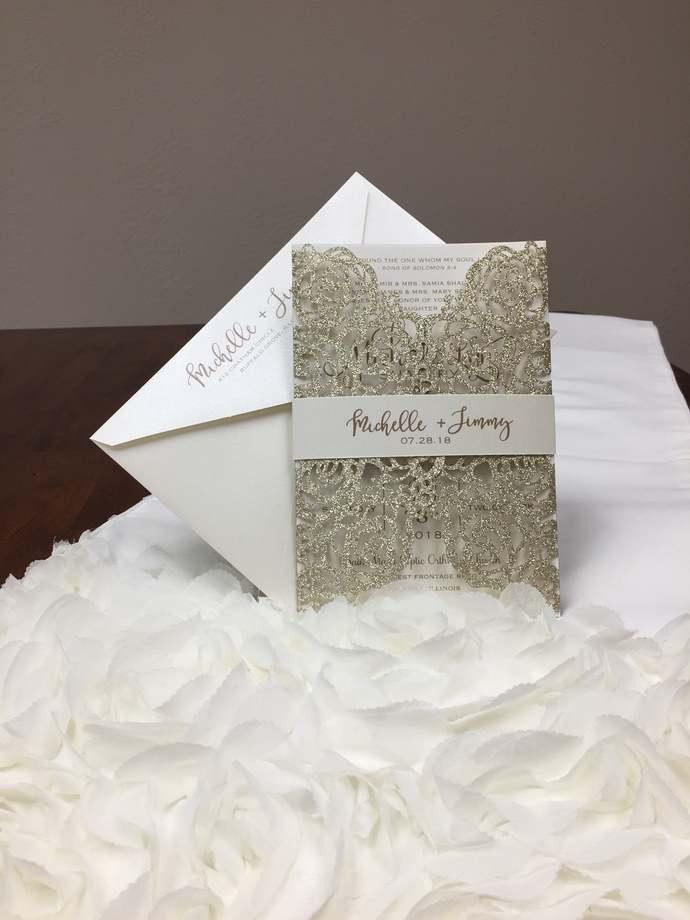 More Colors Glitter Laser Cut Wedding Invitations Gold Glitter Wedding Die Cut