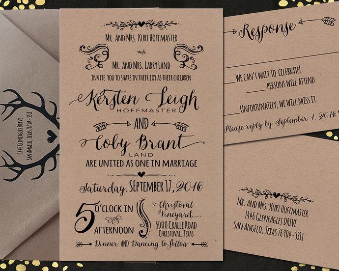 Printed Rustic Invitation Sets Wedding Invitation Sets Custom Wedding Invitation