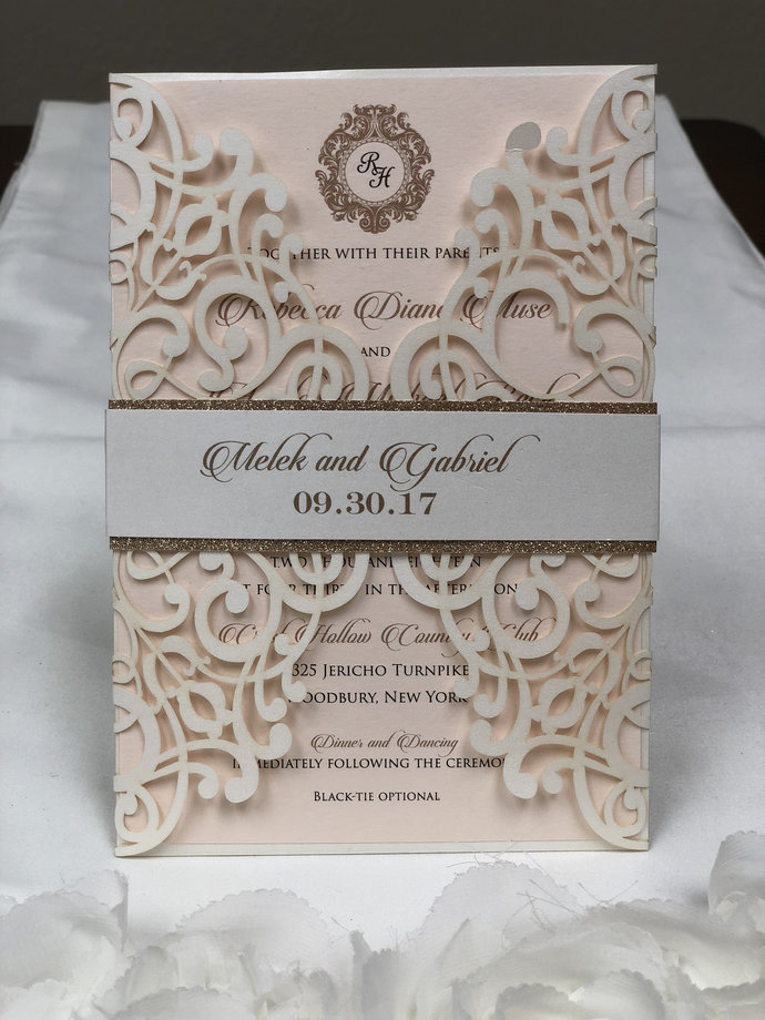 Gorgeous Peach Ivory Shimmer More Colors Lace Laser Cut Wedding Invitations