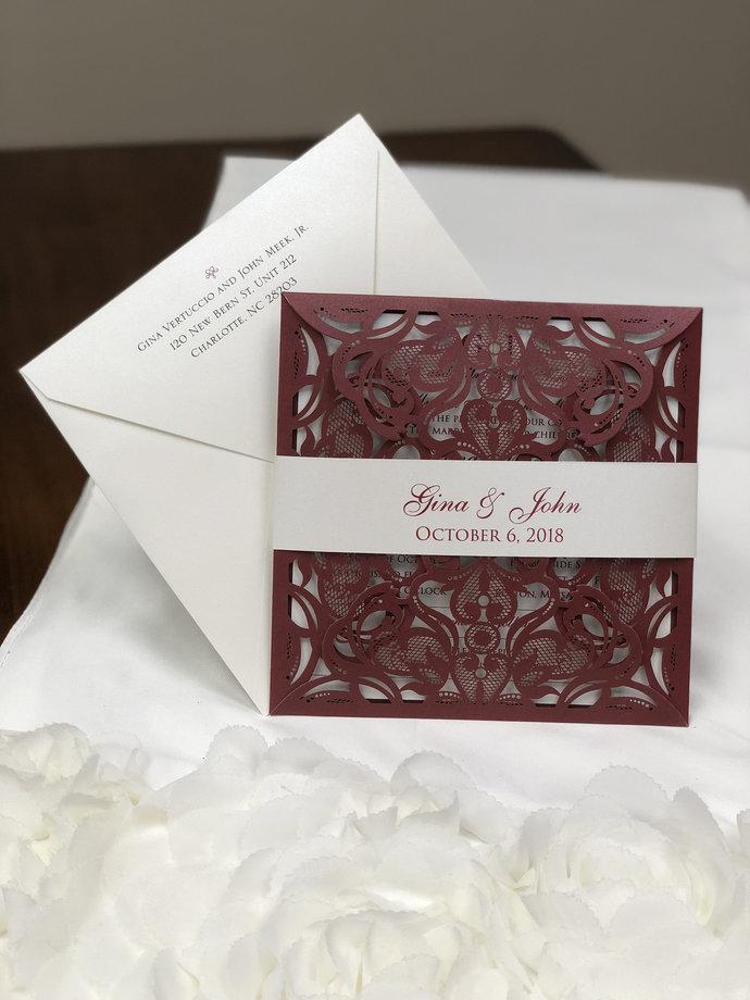More Colors Delicate Lace Laser Cut Square Wedding Invitations Blush Silver