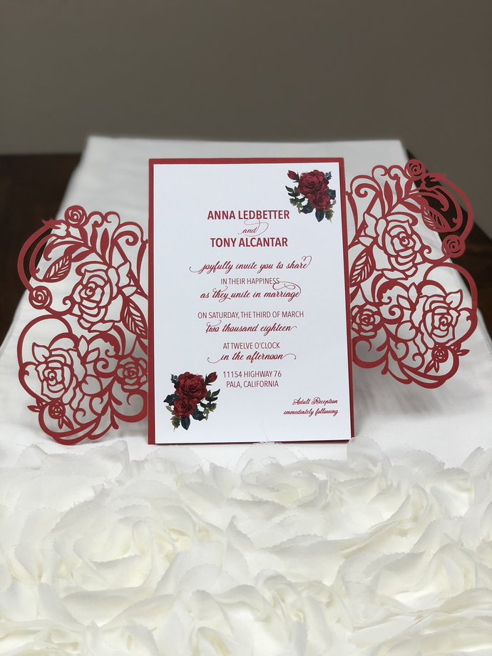 More Colors - Rose Laser Cut Wedding Invitations Pocket Wedding invitation Die