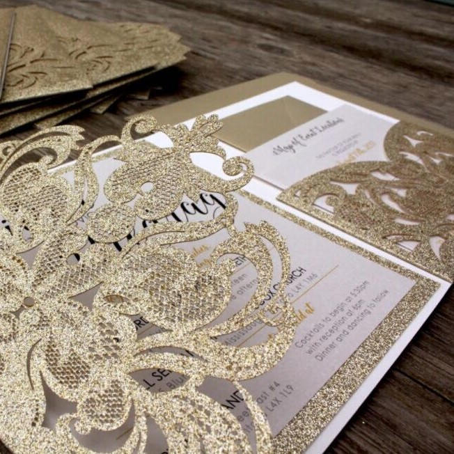 Glitter tri-fold laser cut wedding invitations glitter pockets glitter jackets