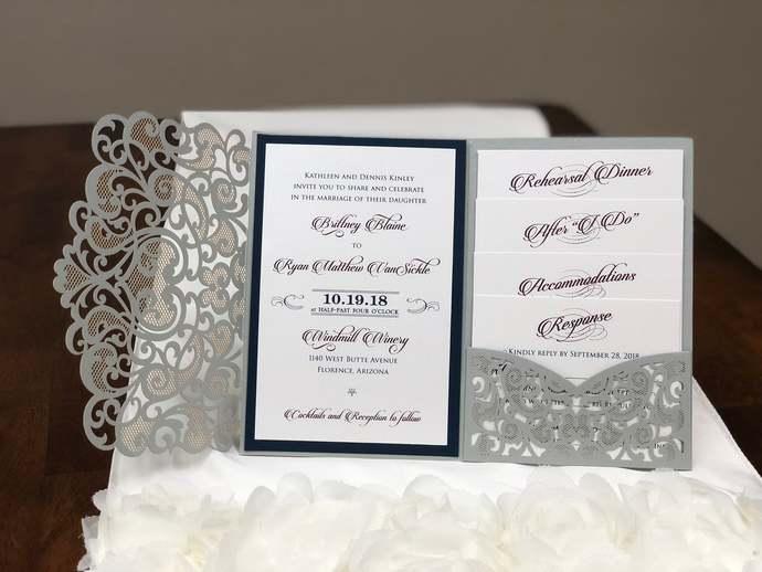 More Colors Laser Cut Wedding Invitations Pocket Wedding Invitations Navy Ivory