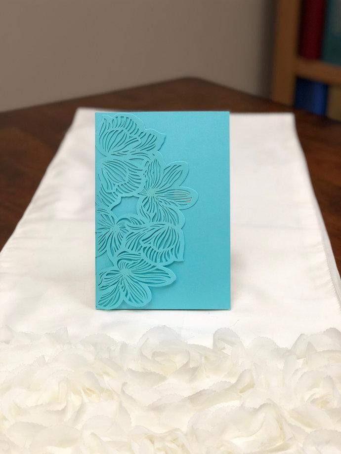 Tiffany Blue Floral Beach Destination Wedding Laser Cut Wedding Invitations