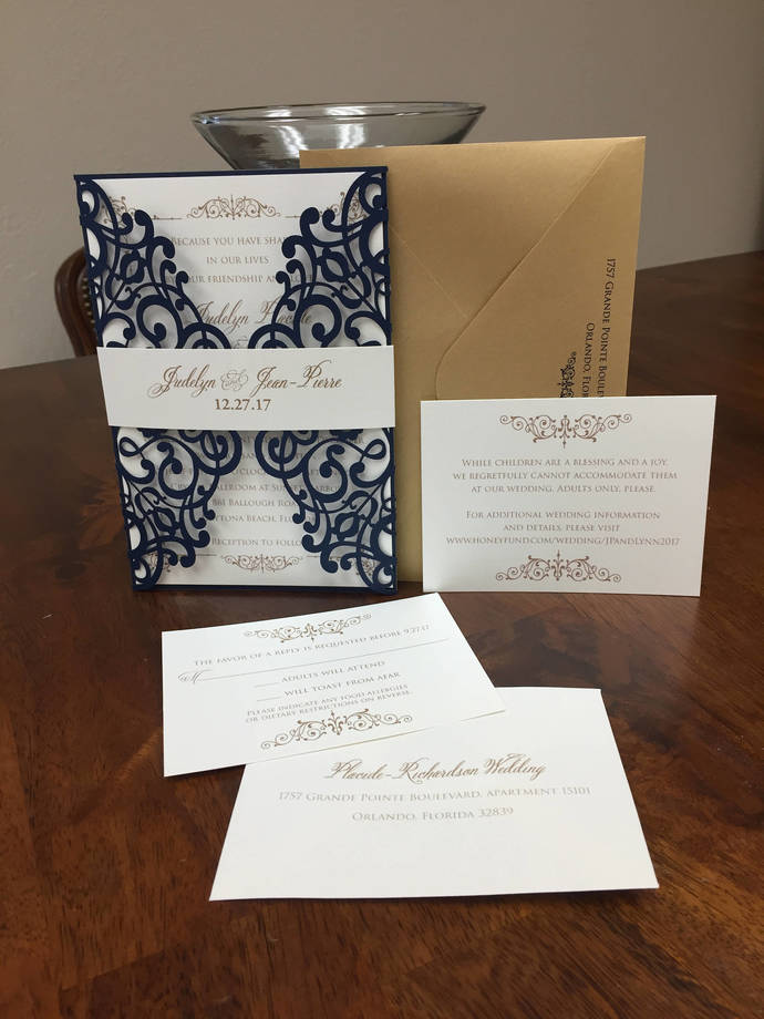 Gorgeous More Colors Shimmer Lace Laser Cut Wedding Invitations Wedding Die Cut