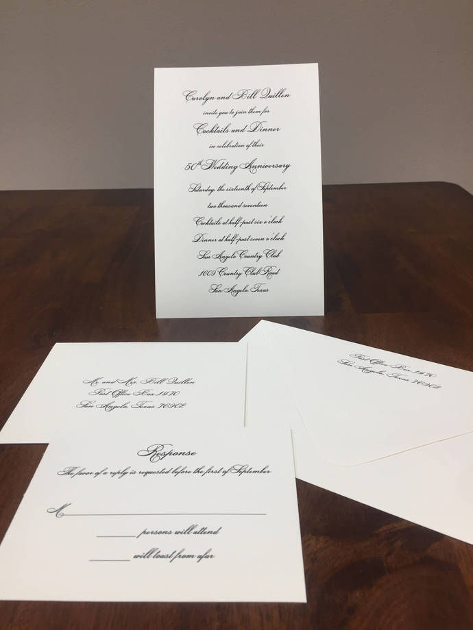 Traditional ecru wedding invitation 50th Anniversary simple traditional wedding