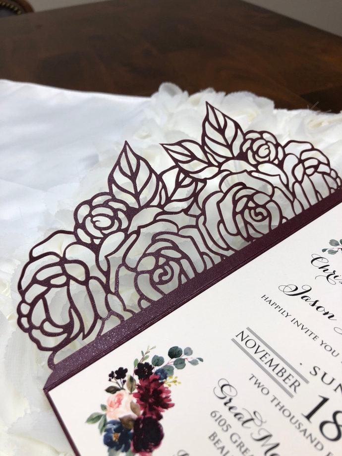 Plum Laser Cut Rose Floral Pocket ONLY Gorgeous Laser Cut Wedding Invitation