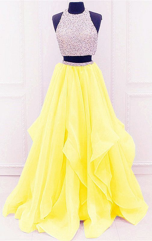2 piece homecoming dresses yellow