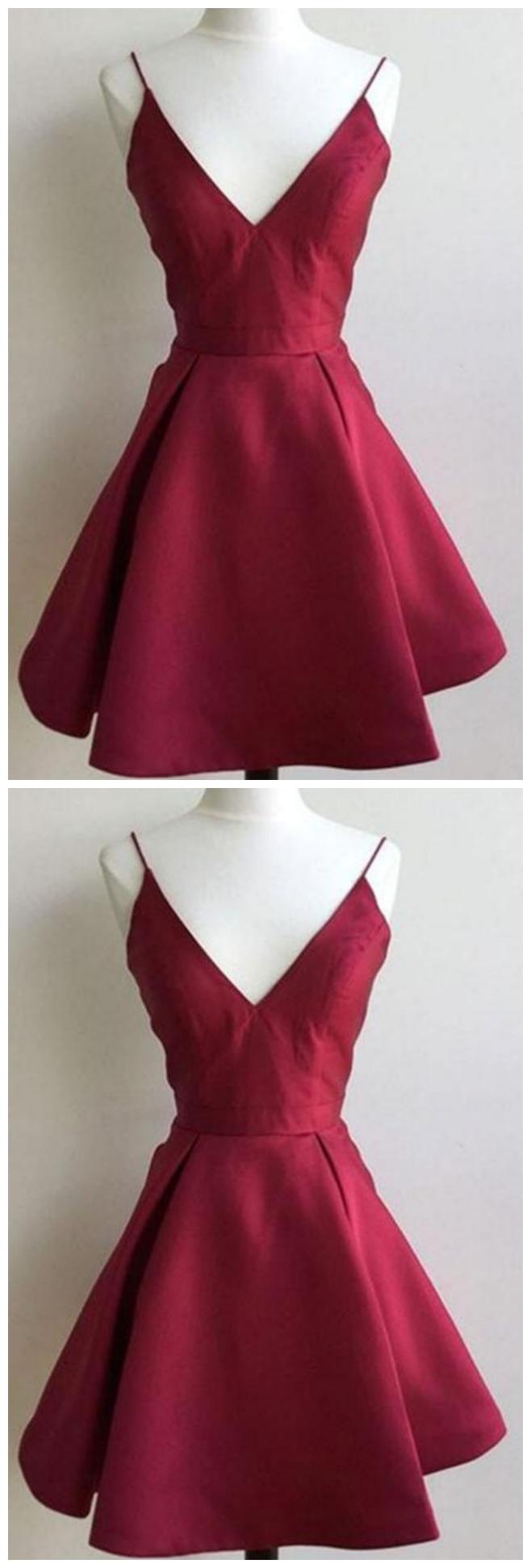 Burgundy V Neck Short Homecoming Dresses Sleeveless A Line Cocktail Dresses