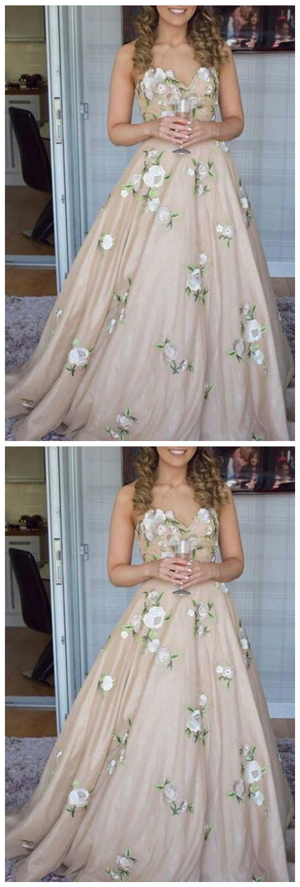 Prom Dresses Aline Sweetheart Embroidery Floor-length Chic Prom Dress