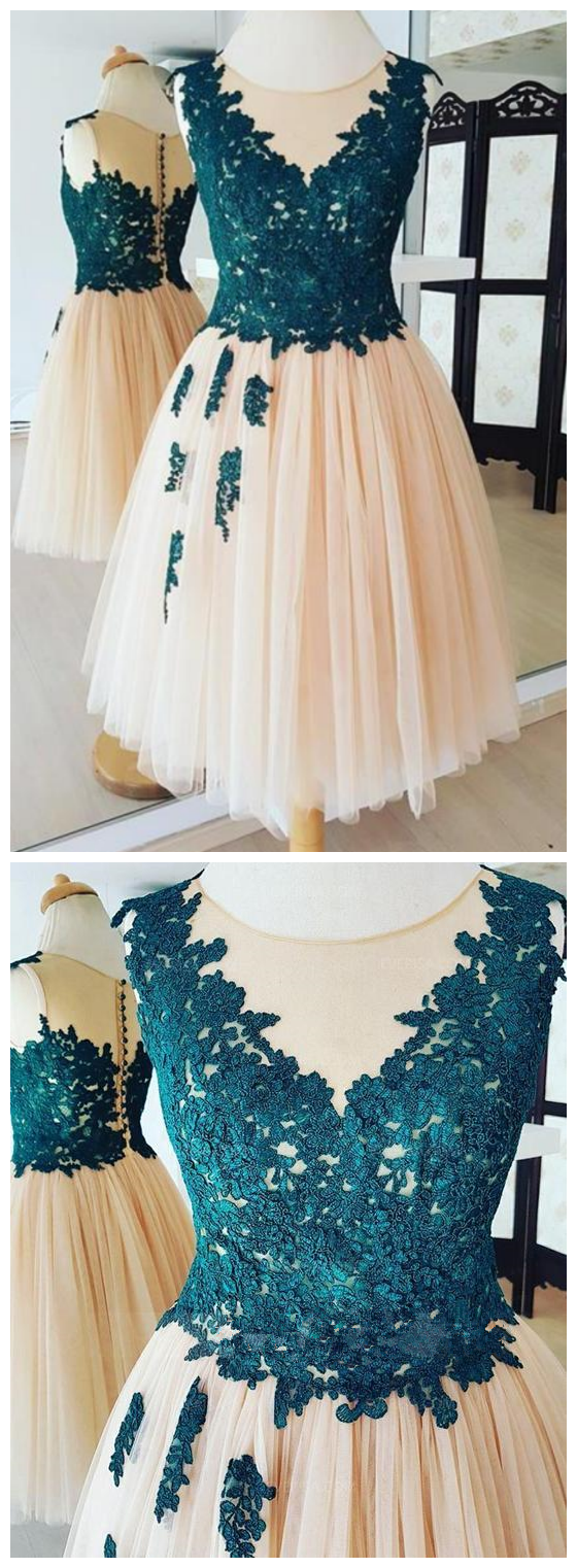 Lace Appliques Sleeveless Homecoming Dresses,A Line Cocktail Dresses