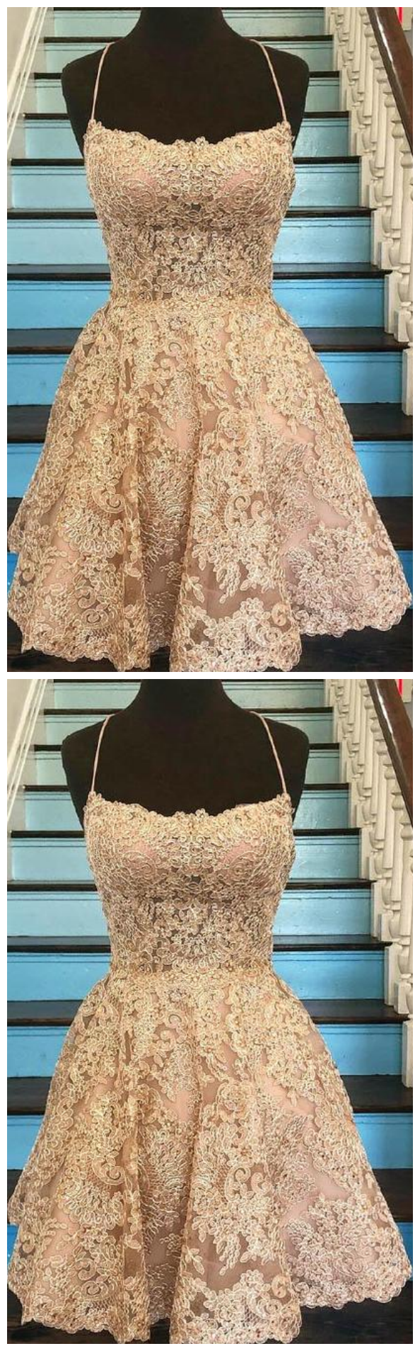 Sleeveless Lace Homecoming Dresses,A Line Backless Cocktail Dresses