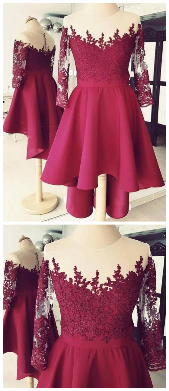 Burgundy Long Sleeves Lace Homecoming Dresses,High Low Cocktail Dresses
