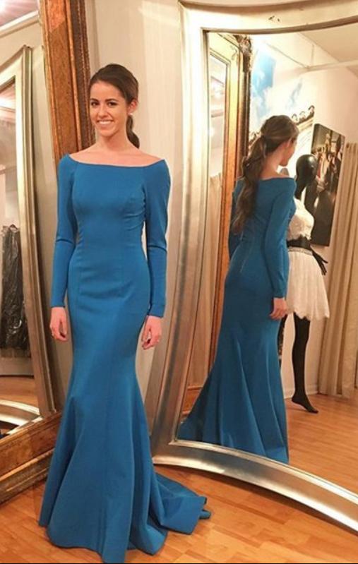 Full Sleeve Evening Dress,Mermaid Evening Dresses,Formal Gowns
