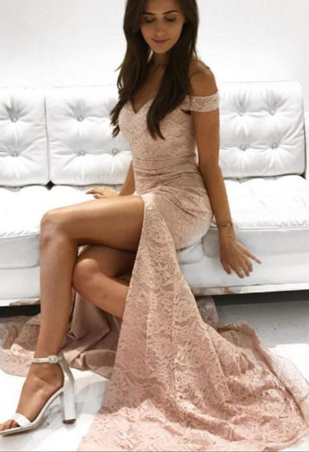 Off the Shoulder Prom Dress, Lace Prom Dress, Prom Dress with Slit