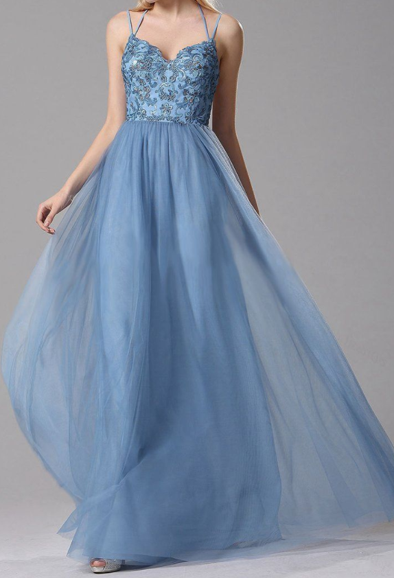 A-Line Sky Blue Lace Prom Dress,Tulle Long Prom Dresses with Floral Lace and