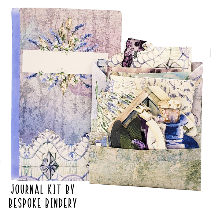 Lavender Fields Journal Kit: Comes with an 80 page premade journal and ephemera