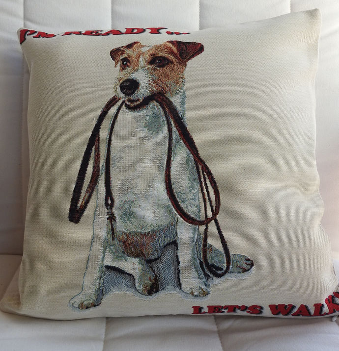 I'm Ready Lets Walk Dog Tapestry Cushion Cover