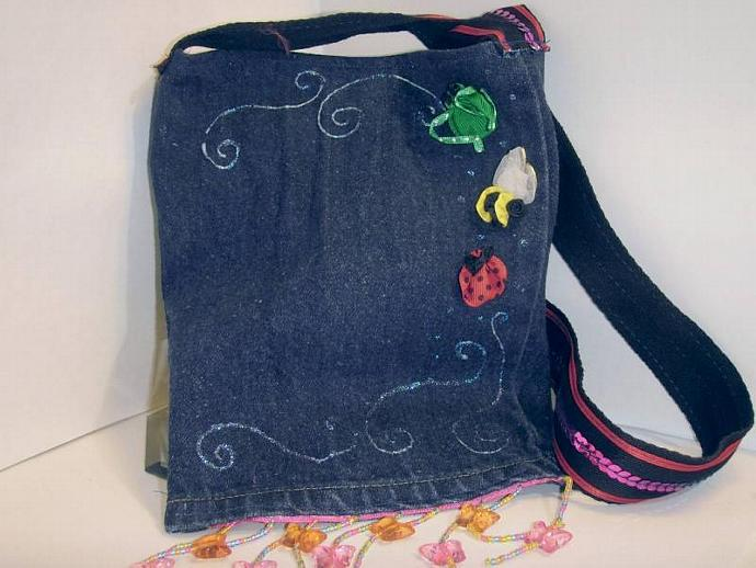 'cute as a bug' Upcycled Jean bag- perfect for Kindle, e-reader, nook, small