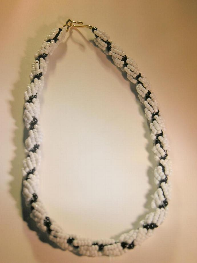 Handmade Black and White Spiral Rope Necklace