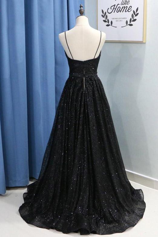 Spaghetti Straps Long Sequin Prom Dress With Split Black Long Evening Dress
