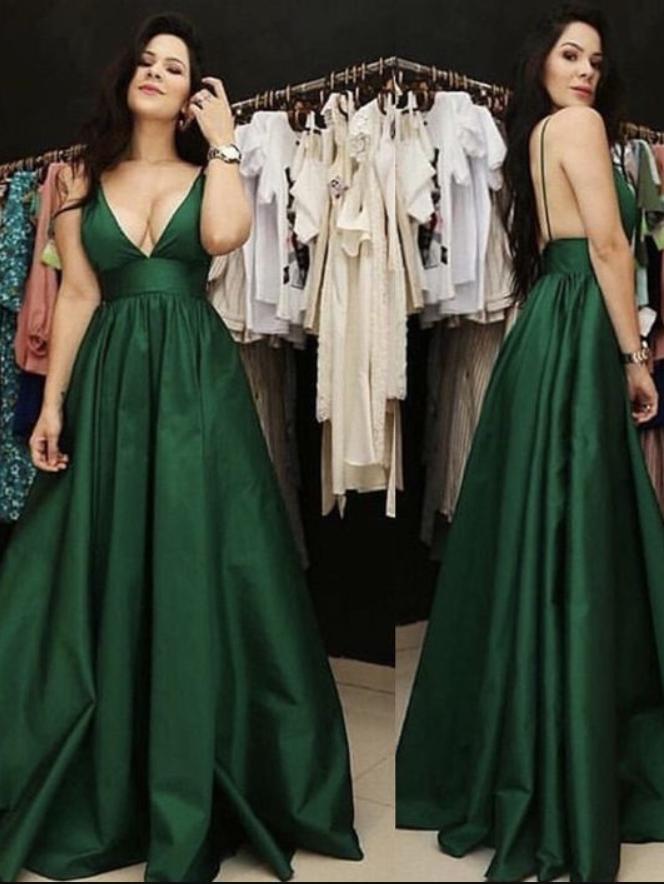 Plunge V-neck Floor Length Satin Prom Dresses