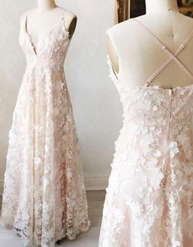 Sweet Beautiful Princess Light pink v neck long prom dress, evening dress