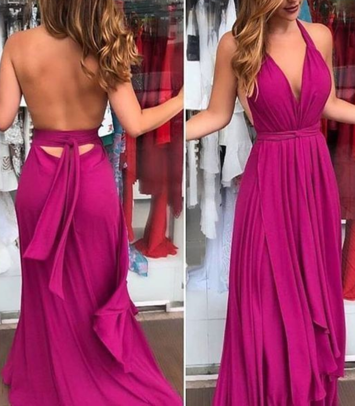 Fashion Sexy V-neck long Prom Dress,Sexy Open Back Party Dress, Prom Dresses