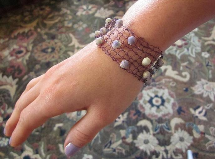 Hand-Knit Purple Wire Bracelet with Handmade Beads for sale