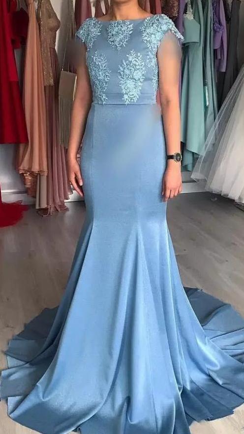 Mermaid Formal Evening Dresses Short Sleeve Jewel Lace Applique Sweep Train