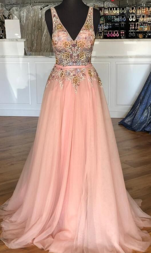 Beautiful Charming Pink Tulle Long Prom Dress with Beading, Gorgeous Long Party