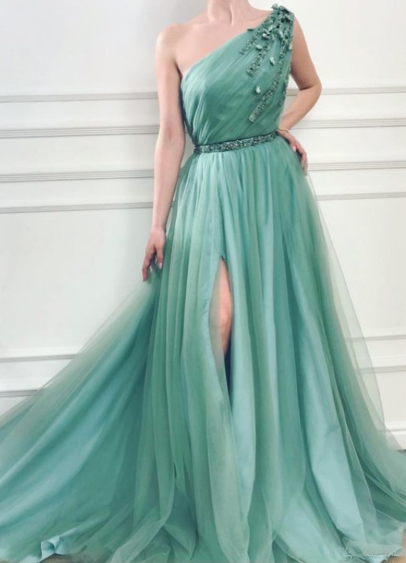 Fabulous Chic A-line One Shoulder Long Prom Dresses With Silt Prom Dress Evening