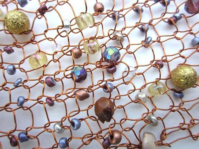 Handknit Copper Wire Cuff Bracelet with LOADS of jewels