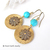 Brass Flower Earrings with Turquoise - Nature Inspired Jewelry
