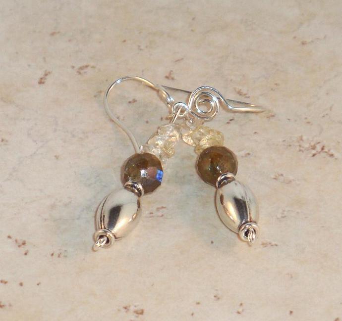 Labradorite and Sterling Silver Drop Earrings