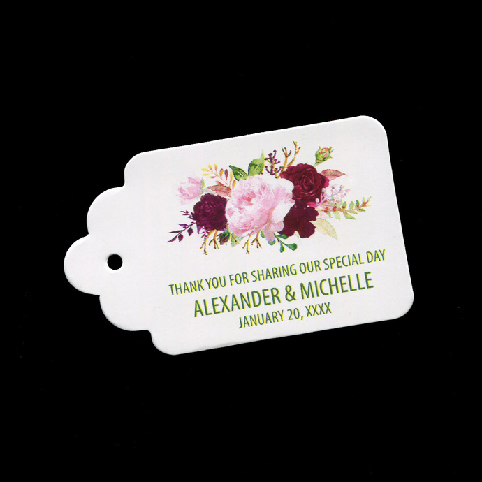 Personalized Wedding Tags for Favors and Thank You Gifts, Set of 10
