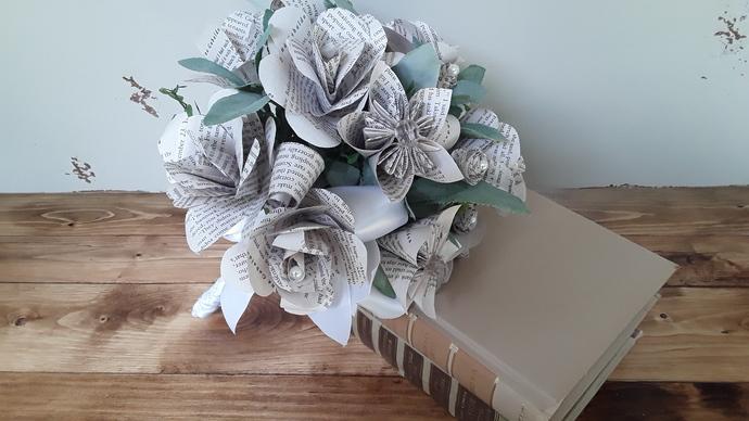 Customized Made to Order Book Flower Wedding Bouquet, Paper Flower Bouquet, Book