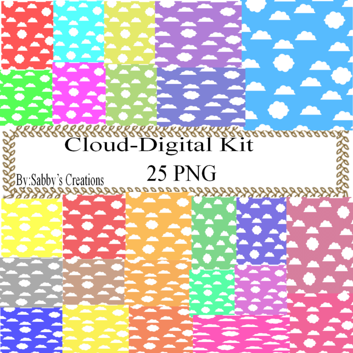 Cloud Digital Kit-Digital Paper-Digital Clipart-Art Clip-Jewelry-T