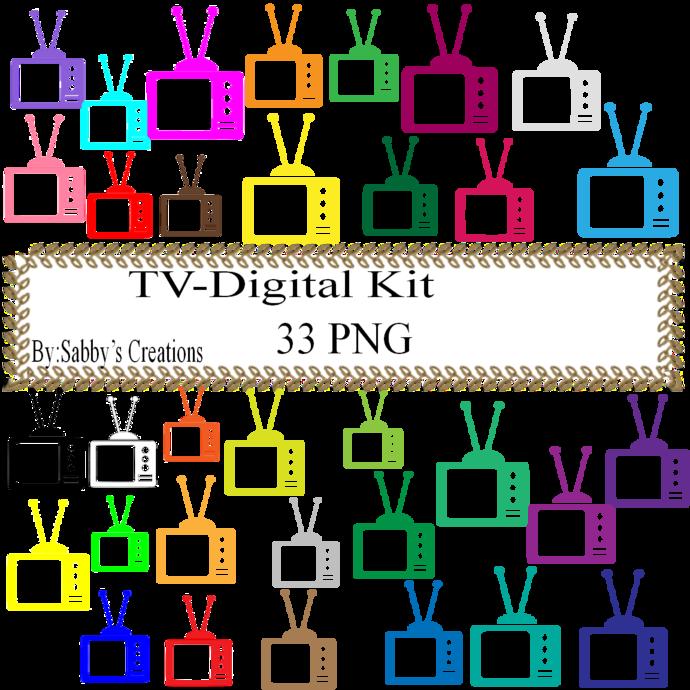 TV Digital Kit-Digital Paper-Digital Clipart-Art Clip-Jewelry-T