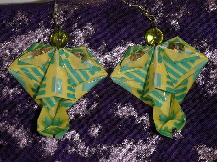 Green Origami Witch Doctor Earrings