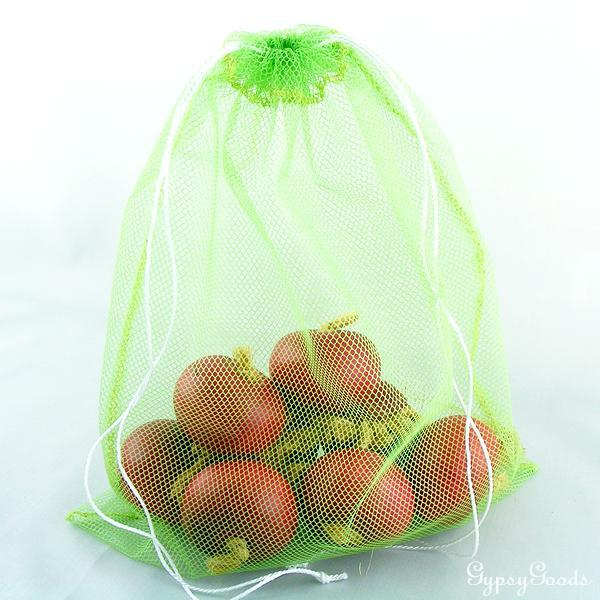 Set of Two (2)-Lightweight Lime Green Mesh Produce Bags for weighing on In Store