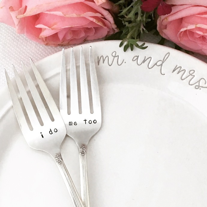 Hand Stamped Vintage Wedding Forks - I do and Me too forks with dated handles,