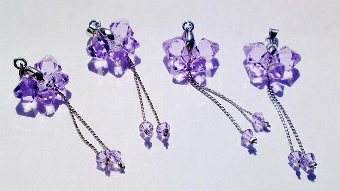 Pendant Beaded Swarovski crystal purple Butterfly swallowtail by Orchid's