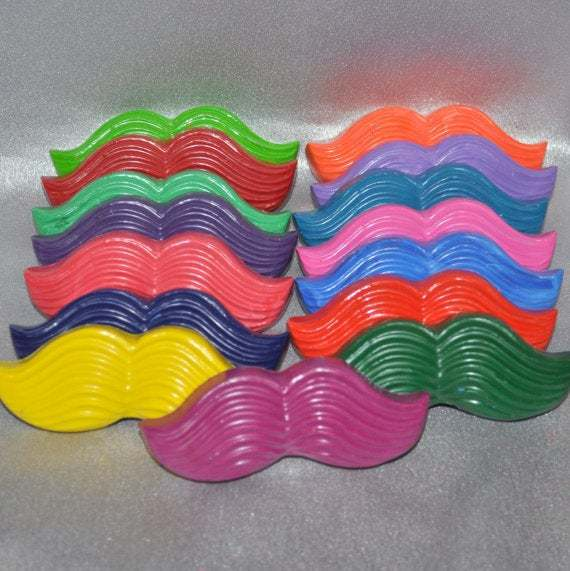 Recycled Crayons Mustache Shaped Total of 15.  Boy or Girl Kids Unique Party