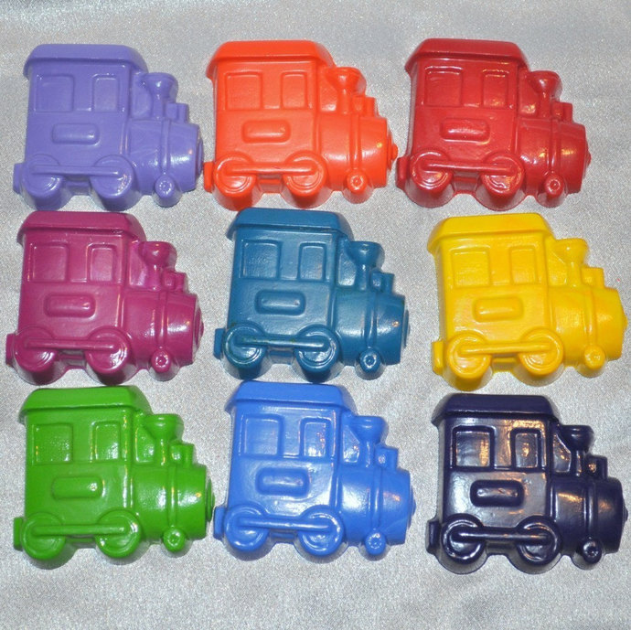 Train Crayons, Train Party Favors, Train Shaped Recycled Crayons Total of 18.
