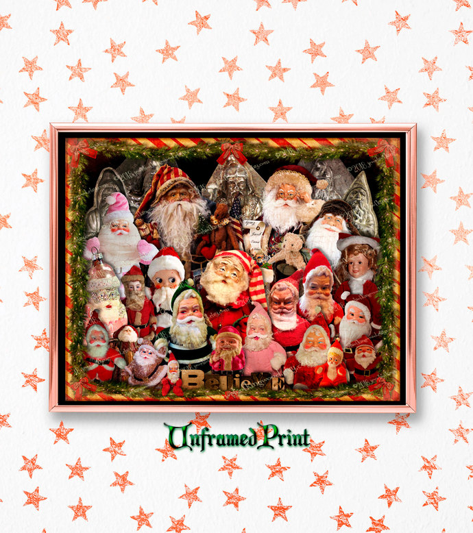 Believe in Santa Art Print - Christmas Gift for Santa Collector