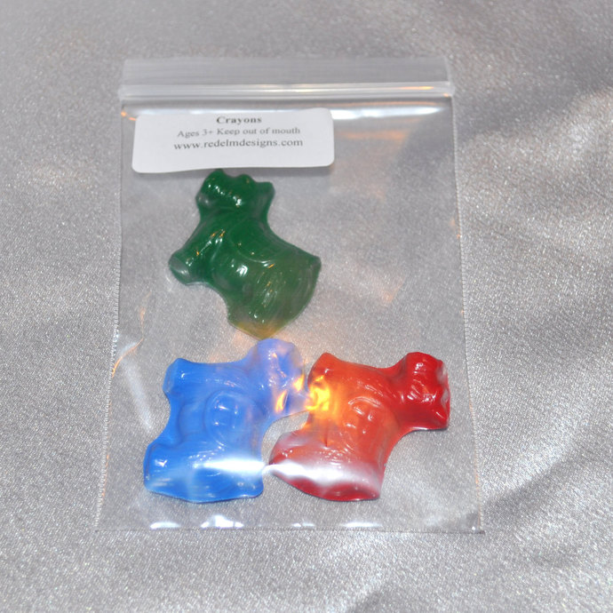 Scottish Terrier Dog Shaped Recycled Crayons, Total of 12 Bags Each Bag Will