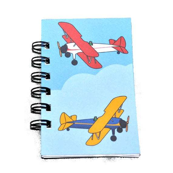 Airplane Party Favors, Recycled Mini Airplane Spiral Bound Notebook-Total of 1