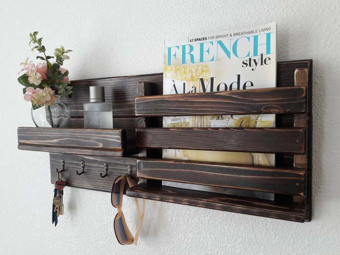 Rustic Brown Wood Wall Mounted Mail Key Holder Entryway Organizer Shelf with 4