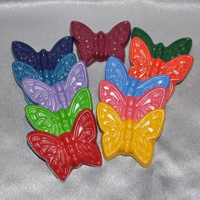 Butterfly Crayons, Butterfly Party Favors, Butterfly Shaped Recycled Crayons-